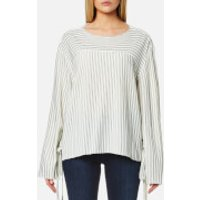 House of Sunny Womens Lace Up Stripe Top - Stripp - UK 12 - White