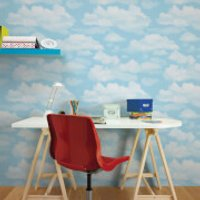 Fresco Cloud Nine Sky Print Clouds Blue Wallpaper