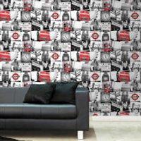 Fresco London Black/Red Wallpaper