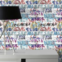 Fresco Brick Wall Effect Graffiti Print Wallpaper