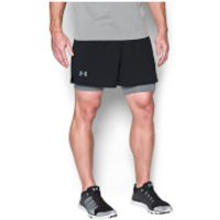 Under Armour Mens Qualifier 2-in-1 Shorts - Black - M - Black