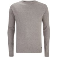 Threadbare Mens Sanders Textured Knit Jumper - Light Grey Marl - M