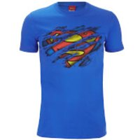 Superman Mens Torn Logo T-Shirt - Royal Blue - XXL