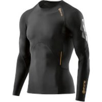 Skins A400 Mens Compression Long Sleeve Top - Oblique - L - Black