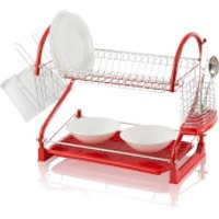 Swan 2 Tier S Shape Dish Rack - Red