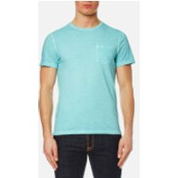 Michael Kors Mens Melange Wash Crew Pocket T-Shirt - Lagoon - XL - Blue