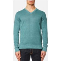 Michael Kors Men's Melange Wash V Neck Sweater - Lagoon - XL - Blue