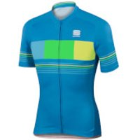 Sportful Stripe Short Sleeve Jersey - Blue/Yellow - XXL - Blue/Yellow