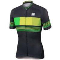 Sportful Stripe Short Sleeve Jersey - Black/Yellow - L - Black/Yellow