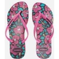 Havaianas Womens Floral Slim Flip Flops - Black/Orchid Rose - EU 35-36/UK 2-3 - Pink