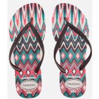 Havaianas Womens Tribal Slim Flip Flops - White/Black/Pink - EU 41-42/UK 8-9 - Black