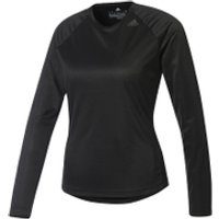 adidas Womens D2M Long Sleeve Top - Black - XS - Black