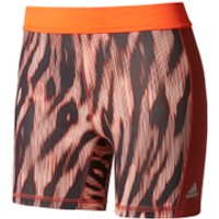 adidas Womens TechFit 5 Shorts - Print/Mystery Red - L - Print/Mystery Red