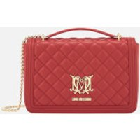 Love Moschino Womens Quilted Medium Flap Shoulder Bag - Red