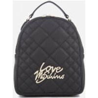 Love Moschino Womens Matt Quilted Backpack - Black