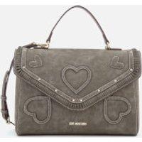 Love Moschino Womens Heart Applique Satchel Bag - Grey