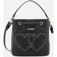 Love Moschino Womens Heart Whipstitch Bucket Bag - Black