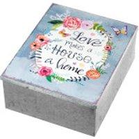 Parlane Love Makes Metal Trinket Box - Silver/Multi (9 x 19cm)