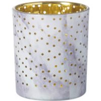 Parlane Stormy Glass Tealight Holder - White/Lilac/Gold (10cm)