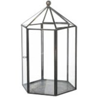 Parlane Bower Glass Lantern - Clear/Metal (24 x 16cm)