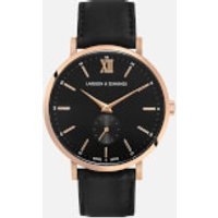 larsson and jennings small kulor 38mm leather watch  rose gold/black