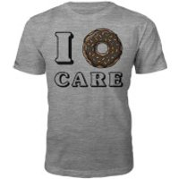 I Donut Care Slogan T-Shirt - Grey - XXL - Grey