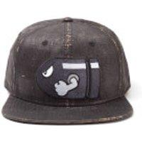Nintendo Super Mario Bullet Bill Snapback Cap with Embroidery - Black