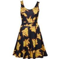 Pokemon Women's Black Dress With All Over Pikachu - Black - L - Black