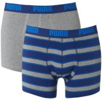 Puma Men´s 2 Pack Rugby Striped Boxers - Blue/Grey - S - Blue/Grey