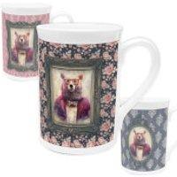 Bear Bone China Mug - Floral