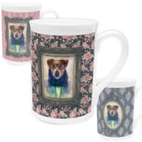 Dog Bone China Mug - Floral