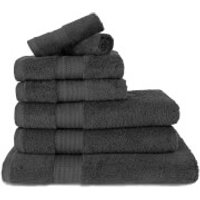 Restmor 100% Egyptian Cotton 7 Piece Supreme Towel Bale Set (500gsm) - Black - Towel Gifts