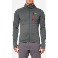 Montane Mens Power Up Hooded Fleece - Stratus Grey/Alpine Red - M - Grey