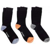 Ben Sherman Mens Irthing 3 Pack Socks - Black/Orange/Navy - UK 7 - 11