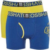 Crosshatch Mens 2 Pack Brookster Boxer Shorts - Dandelion - M - Yellow