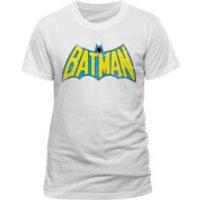 DC Comics Men's Batman Retro Logo T-Shirt - White - S - White - Batman Gifts