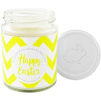 Happy Easter Yellow Chevron Bunny Pom-Pom Candle