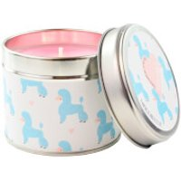 Pink Cranberry Marmalade Poodle Party Print Tin Candle