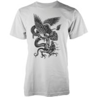 Abandon Ship Mens Eagle Dragon Snake T-Shirt - White - XL