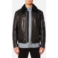HUGO Mens Lannson Leather Jacket - Black - S - Black