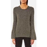 MICHAEL MICHAEL KORS Women's Metallic Bell Sleeve Crew Neck Jumper - Ivy - M - Green