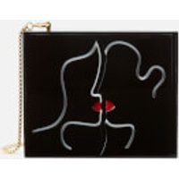 Lulu Guinness Womens Kissing Lips Chloe Clutch Bag - Black/Chalk