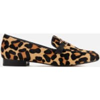 Dune Womens Lolla Leather Loafers - Leopard Pony - UK 3 - Tan