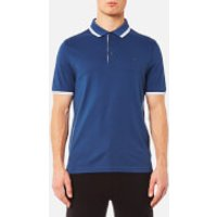 Michael Kors Mens Logo Collar Polo Shirt - Marine Blue - M - Blue