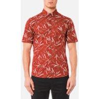 Michael Kors Mens Short Sleeve Slim Dax Print Shirt - Paprika - XXL - Red