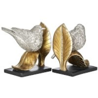 Fifty Five South Bird on Leaf Bookends - Antique Silver/Gold/Black (Set of 2)