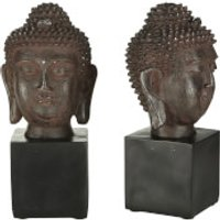 Fifty Five South Buddha Head Bookends - Black (Set of 2) - Buddha Gifts