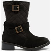 Barbour Barbour Women's Barnes Waxy Suede Quilted Mid Boots - Black - UK 4 - Black