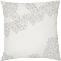 Geometric Triangle Print Cushion - White - Smooth Linen