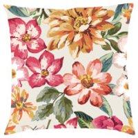 Tropical Floral Cushion - Cream - Textured Linen
